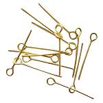 Brass Eye Pin, Golden, 70x0.7mm, Hole: 2mm, about 180pcs/50g
