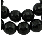 Gemstone Beads Strands, Black Agate, Natural, Faceted(128 Facets) Round, Dyed & Heated, 12mm, hole: 1mm, 15