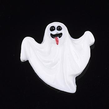 Кабошоны из смолы, призрак, Хэллоуин, белые, 28x27.5x6 мм