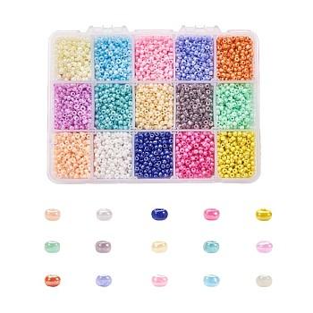 15 cuentas de semillas de vidrio de colores, para hacer joyas y hacer cuentas, Ceilán, redondo, color mezclado, 3mm, agujero: 1 mm, acerca 500pcs / del color, aproximamente 7500 unidades / caja