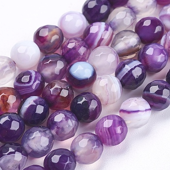 Natural Striped Agate/Banded Agate Beads Strands, Round, Faceted, Dyed, Indigo, 6mm, Hole: 1mm; about 62pcs/strand, 14.5 inches(37cm)