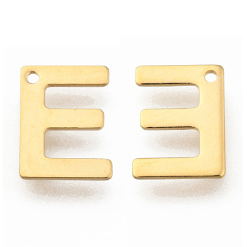 Encantos de 304 acero inoxidable, letter.e, dorado, 11x8x0.8mm, agujero: 1 mm