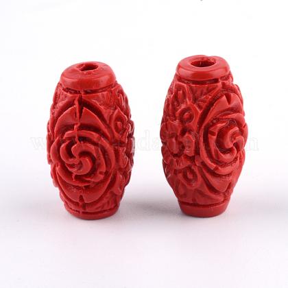 Carved Cinnabar BeadsCARL-Q004-76B-1
