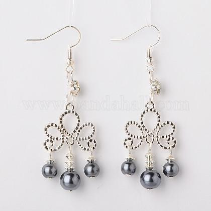 Glass Pearl Round Beads Tassel EarringsEJEW-JE01100-03-1