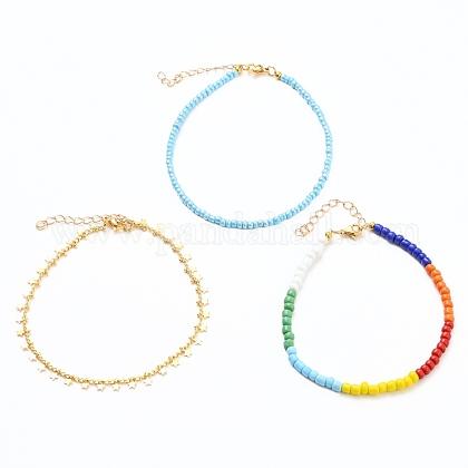 Tobilleras de cuentas de vidrio y cadenas de latón para el tobilloAJEW-AN00315-1