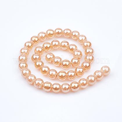 OLYCRAFT 159PCS Crackle Glass Beads Crystal Glass Beads Strands 10mm 6.5mm 8mm Crystal Pressed Glass Round Beads for Bracelet Necklace Earrings Jewelry Making - LightCoralGLAA-OC0001-03-1