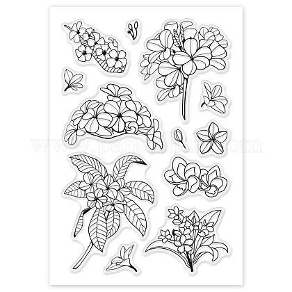 Globleland naturale fiore di frangipane silicone trasparente francobolli timbri acrilici per scrapbooking carta fotografica album decorazione regalo di primaveraDIY-WH0167-56-33-1