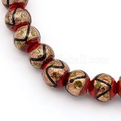 Handmade Gold Sand Lampwork Beads StrandsLAMP-L002-8mm-03-1