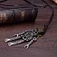 Adjustable Men's Zinc Alloy Pendant and Leather Cord Lariat NecklacesNJEW-BB15999-7