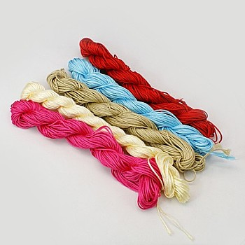 Nylon Thread, Nylon Jewelry Cord for Custom Woven Bracelets Making, Mixed Color, 1mm; about 24m/bundle, 10bundles/bag, 240m/bag