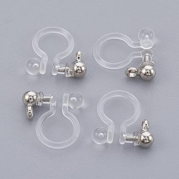 Latón clip componente pendiente, con plástico, Platino real plateado, 10.5x10x2.5mm, agujero: 1.4 mm