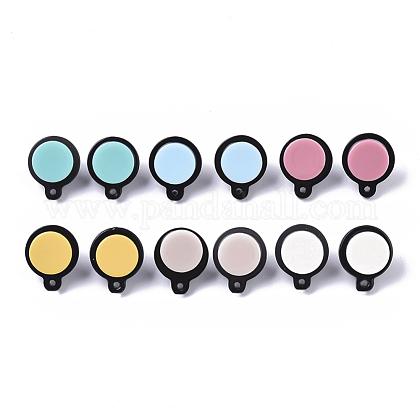 Fornituras de pendiente de botón de acetato de celulosa (resina)KY-R022-023-1