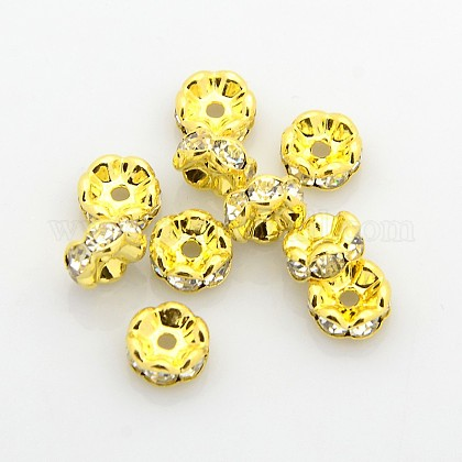Brass Rhinestone Spacer Beads RB-A014-L8mm-01G-NF-1