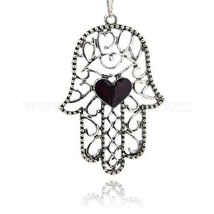 Vintage Hamsa Hand/Hand of Fatima /Hand of Miriam Pendant Necklace FindingsENAM-M001-21-1