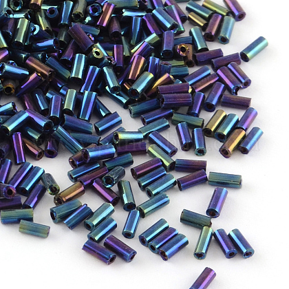 Tube Plated Glass Bugle BeadsX-SEED-R011-704-1