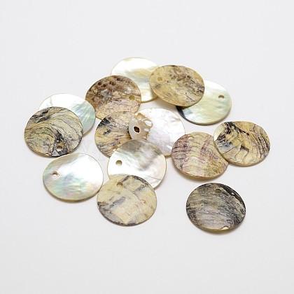 Flat Round Natural Akoya Shell PendantsSHEL-N031-11-1