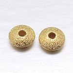 Vraies perles d'espacement de stradust en argent sterling plaqué or plat 18k, or, 6x3mm, trou: 1.5 mm; environ 94 pcs / 20 g