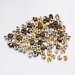 Mixed Style Iron Crimp Beads Covers, Cadmium Free & Nickel Free & Lead Free, Mixed Color, 4mm In Diameter; Hole: 1.5~1.8mm