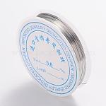 Abalorios de vidrio pintado para hornear hebras, sin níquel, color plateado, 22 calibre, 0.6 mm; 8 m / rollo