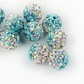 Abalorios de la bola de polímero coloreado a mano disco de la arcilla de dos tonos, con rhinestone de cristal, aguamarina, 9~10mm, agujero: 2 mm