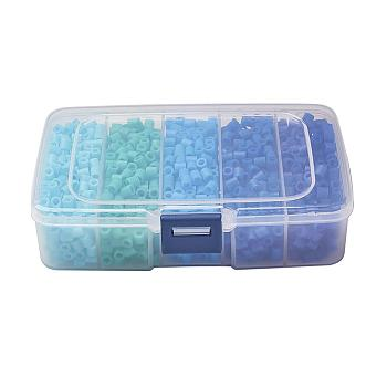 5mm PE DIY Fuse Beads Refills for Kids, Tube, Blue, 5x5mm, Hole: 3mm; about 1900pcs/ box