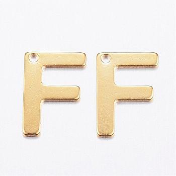 Encantos de 304 acero inoxidable, carta, encantos iniciales, letter.f, 11x6~12x0.8mm, agujero: 1 mm