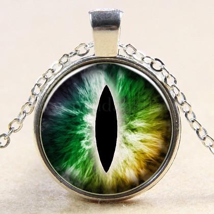 Collares pendientes de cristal con forma de ojo de dragónNJEW-N0051-007L-02-1