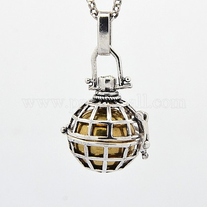 Antique Silver Gridding Brass Pregnancy Chime Ball Pendant NecklacesNJEW-F053-04AS-05-1