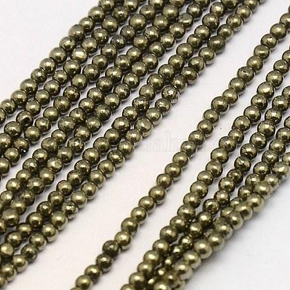 Natural Pyrite Beads StrandsG-L031-2mm-01-1