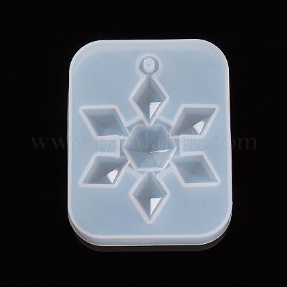 Moldes colgantes de silicona de fundición de resina de copo de nieve de navidadDIY-WH0162-56-1
