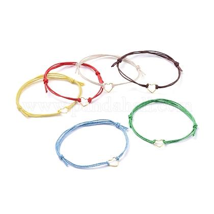 Adjustable Waxed Cotton Cord BraceletsBJEW-JB05064-1