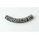Brass Middle East Rhinestone Beads, Tube, Jet Hematite, 45~46.5x9mm, Hole: 4mm