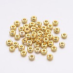 Spacer Beads, Brass, Golden, about 4mm in diameter, 1.9mm thick, hole: 1.2mm
