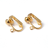 Iron Clip-on Earring Findings for Non-Pierced Ears, Golden, Nickel Free, about 13.5mm wide, 15.5mm long, 7mm thick, Hole: about 1.2mm