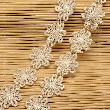 Cinta de nylon con ribete de encaje para hacer joyas, blanco, 1 pulgada (24 mm); alrededor de 15 yardas / rollo (13.72 m / rollo)