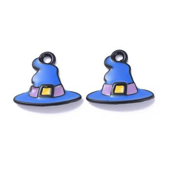 Сплав эмали подвески, шляпа ведьмы талисманы, Волшебная шляпа, для Хэллоуина, синие, 13x15x2 мм, отверстие : 1 мм