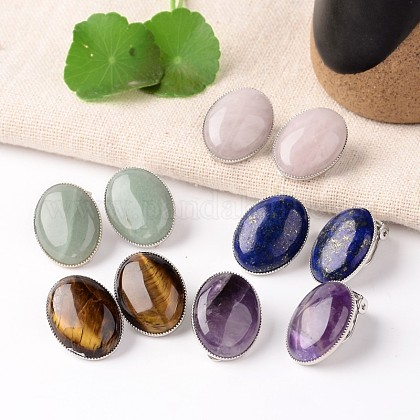 Natural Mixed Stone Oval Clip-on Earrings EJEW-J091-M-1