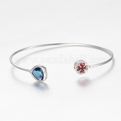 Silver Color Plated Teardrop and Flat Round Brass Glass Cuff BanglesBJEW-I186-02S-NF-1