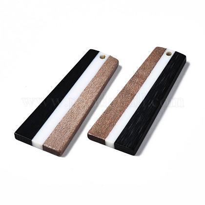 樹脂&ウォールナットウッドペンダント  台形  ブラック  49x19x3mm  穴:2mmRESI-S389-073A-A01-1