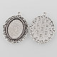 Tibetan Style Antique Silver Alloy Flat Oval Pendant Cabochon SettingsTIBEP-M022-20AS-2