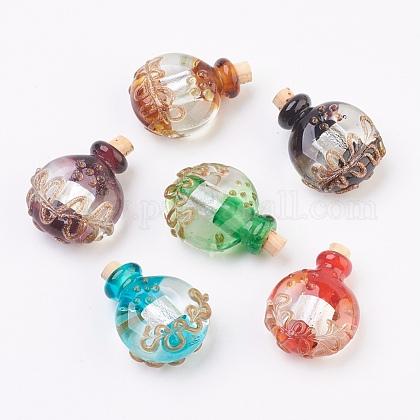 Colgantes de botellas de perfume de lampwork hecho a mano de plataFOIL-P001-B-1