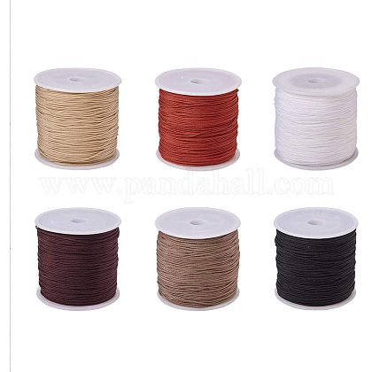 PandaHall 6 Colors 0.8mm Nylon Beading String Chinese Knotting Cord Thread for Jewelry Making and Macrame SuppliesNWIR-PH0001-01-1