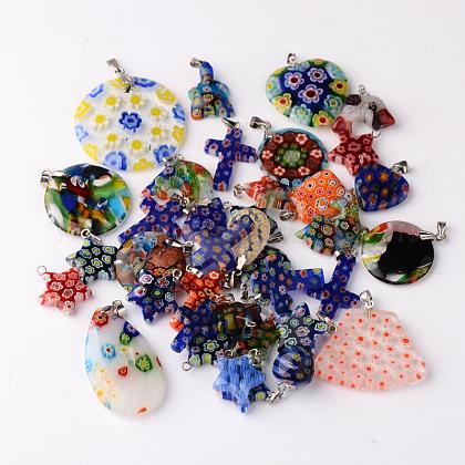 Mixed Shape Handmade Millefiori Glass PendantsLK-P028-16-1