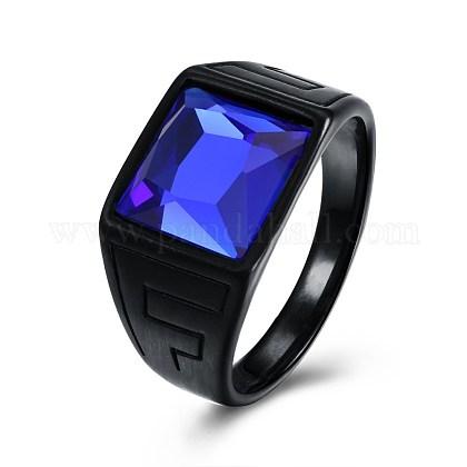 Anillos de dedo de cristal de acero titanio para hombreRJEW-BB29433-D-10-1