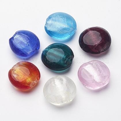 手作り銀箔ガラスビーズSLF20MMY-1-1