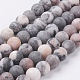 Natural Pink Zebra Jasper Beads Strands, Frosted, Round, 8mm, Hole: 0.8mm; about 47pcs/strand, 15.3