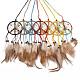 Chicken Feather Handmade Woven Net/Web with Feather Big PendantsAJEW-S080-003-1