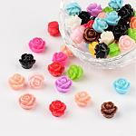 Opaque Resin Beads, Rose Flower, Mixed Color, 9x7mm, Hole: 1mm