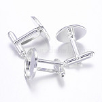 Brass Cuff Settings, Cufflink Findings for Apparel Accessories, Silver Color Plated, Tray: 16mm; 25.5x18mm