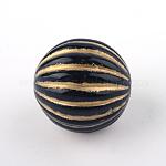 Granos redondos de acrílico de la galjanoplastia, metal dorado enlaced, negro, 16.5x16mm, Agujero: 2 mm; aproximamente 200 unidades / 500 g